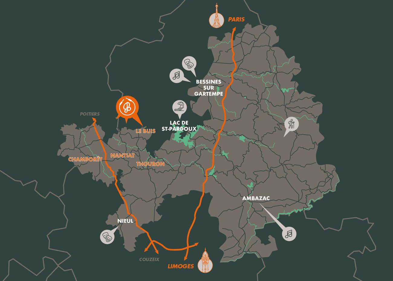 Carte des Monts du Limousin